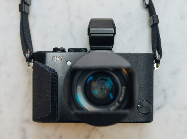 Stellated Grip for Sony RX1 / RX1R / RX1R ii 3d printed The installed grip - Front View