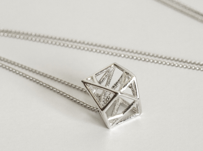 Lien pendant 3d printed Premium Silver with Silver Chain
