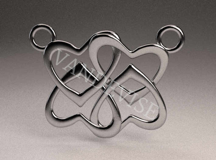 Four Hearts Pendant 3d printed