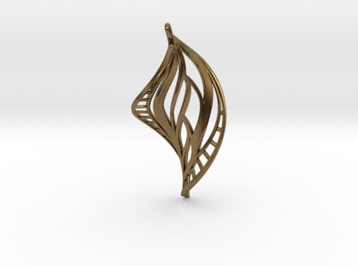 DNA Leaf Spiral Earring (left) 3d printed