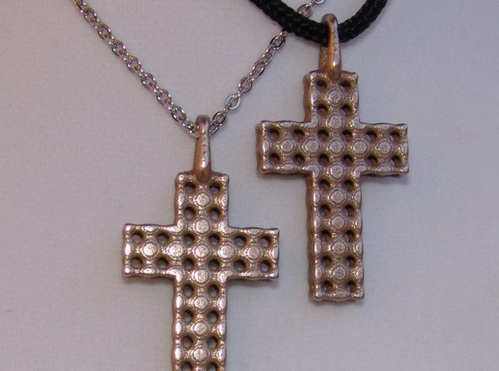 Cross with Depth 3d printed Stainless Steel Cross Pendants - Two Pictured. Actual Photo.