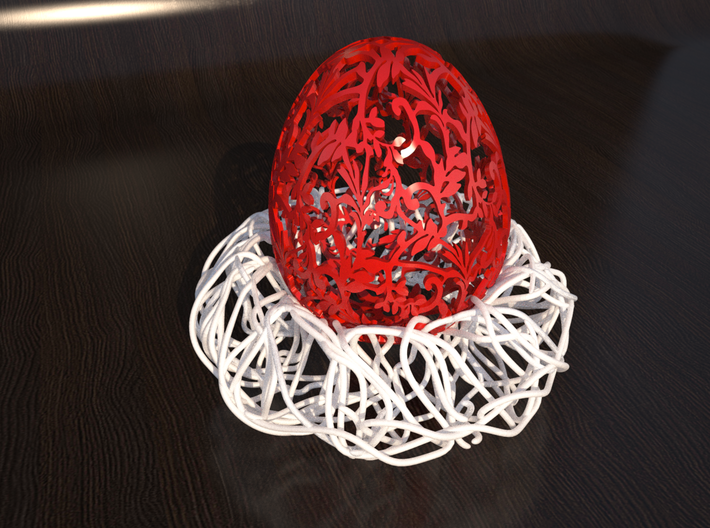 Birds Nest Egg Holder 3d printed Rendering of product