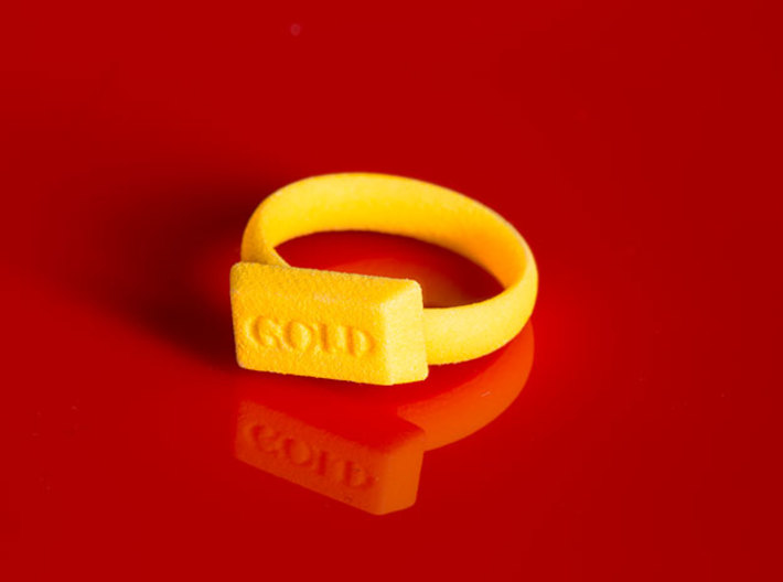 Gold Bar Ring 3d printed The Gold Bar Ring, printed in Yellow Strong & Flexible Plastic