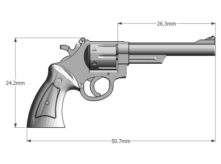 1:6 Scale 44 Magnum Revolver 6in Barrel  3d printed