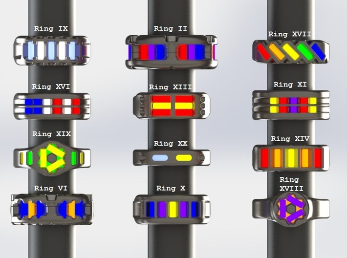 US12.5 Ring XXI: Tritium (Silver) 3d printed This render shows the various ring designs that can made available and possible tritium vial arrangements.