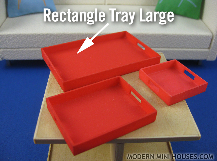Rectangle Tray Large 1:12 scale 3d printed (actual material Red Strong & Flexible Polished)