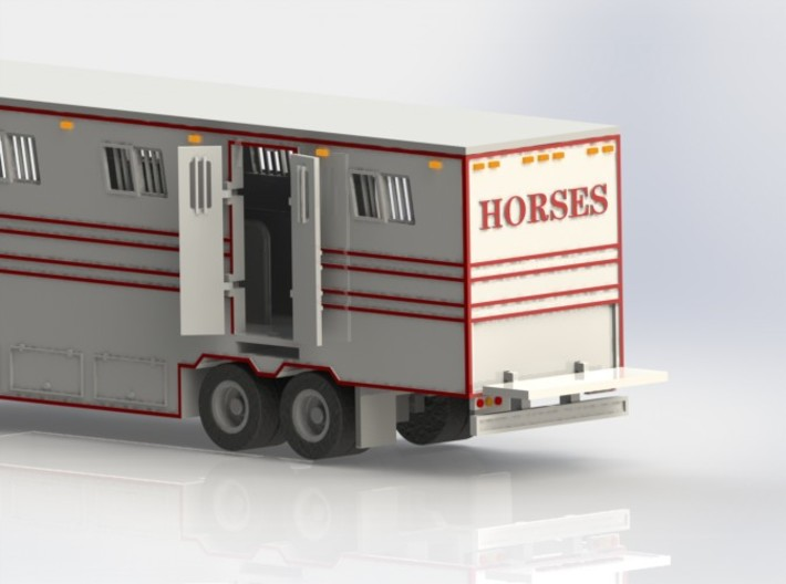HO 1/87 Horsebox 48' Semi 02 3d printed CAD render showing tailgate lowered.