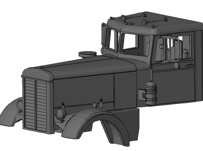 1/64th Interpretation of Peterbilt Long Hood Conve 3d printed Rendering of complete unit with detail file.