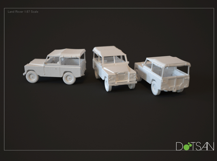 2 Land Rovers At 1/48 Scale 3d printed Rendering of model