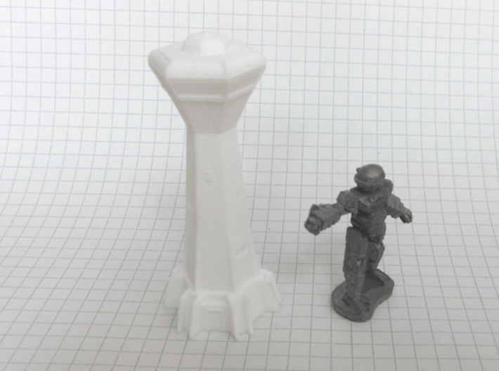 Spaceport Control Tower (1/285) 3d printed successfully printed in polished WSF, Mech for scale
