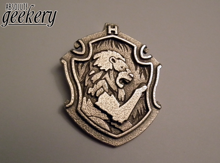 Gryffindor House Crest - Pendant LARGE 3d printed Stainless Steel - small 5.3cm version