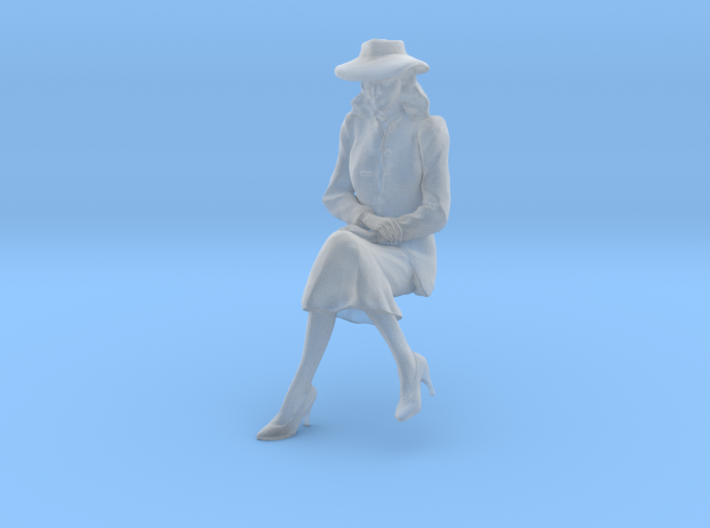 1:20 scale Girl Friday sitting wth hat 3d printed