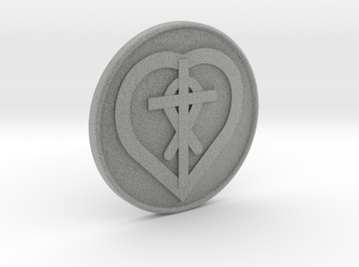Christain Heart Cross Fish Coin 1 Inch 3d printed