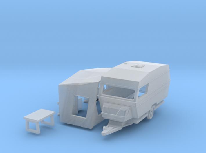 Polar 470 Caravan with tent (N 1:160) 3d printed
