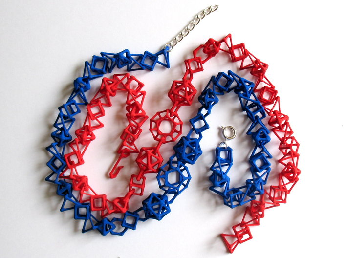 """Coral Bones choker - 19"""" 3d printed Chokers printed in red and blue strong and flexible plastic. Blue choker shows optional replacement of 3D-printed hook clasp with ring clasp and chain."""