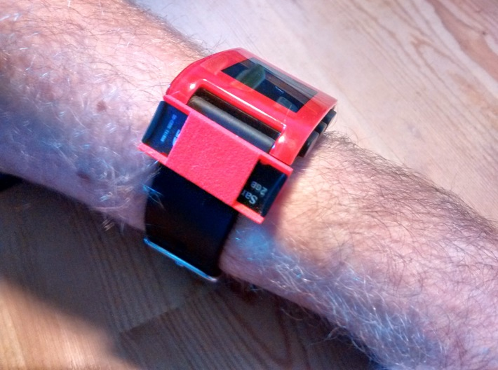Watchband microSD holder 3d printed Attached to a Pebble smartwatch