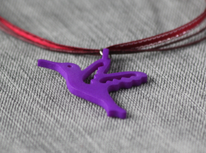Hummingbird Pendant 3d printed Purple strong and flexible. Ribbon chain not included.