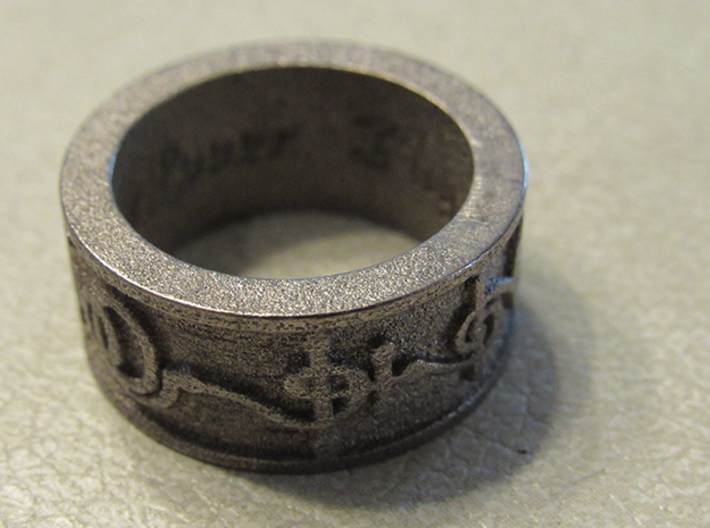 """T'hy'la"" Vulcan Script Ring - Embossed Style 3d printed Pictured: Polished Nickel Steel"
