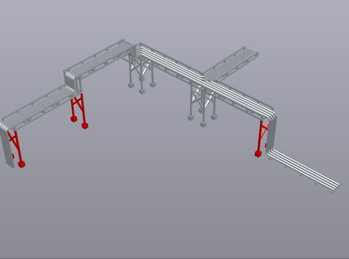 N Pipe Rack Support 28mm 10pc FUD/WSF 3d printed Example of modular pipe rack, 28mm supports shown in red