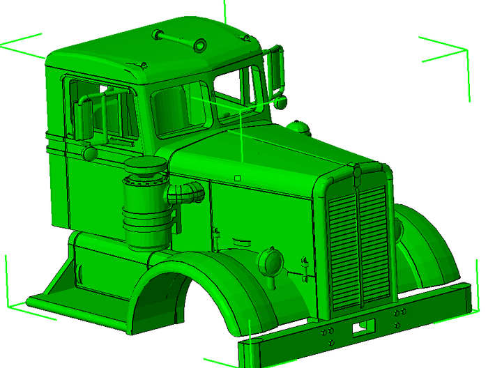 1/64th Interpretation of Kenworth Narrow Nose 3d printed A rendering of the piece as assembled.