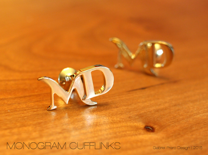 Monogram Cufflinks MD 3d printed