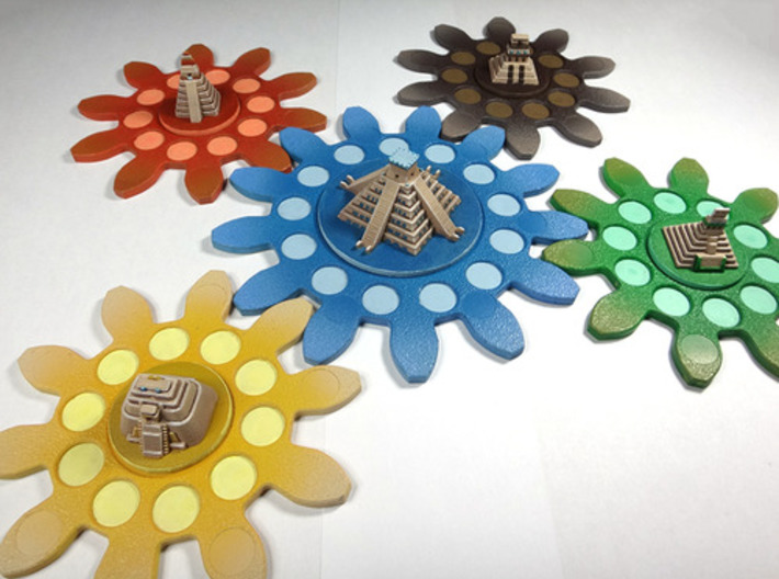 Mayan Pyramids and Calendar center (6 pcs) 3d printed White Strong Flexible, hand-painted. Photo courtesy of user Vinsssounet (on BGG and trictrac). Game cogs copyright Czech Games / Iello.