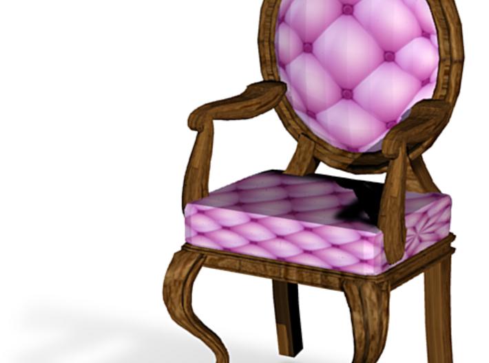 1:144 Micro Scale PinkDark Oak Louis XVI Chair 3d printed