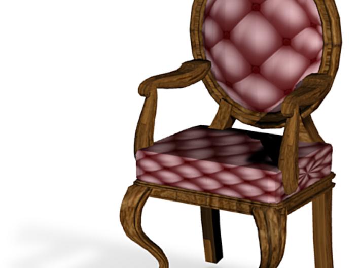 1:144 Micro Scale MaroonDark Oak Louis XVI Chair 3d printed