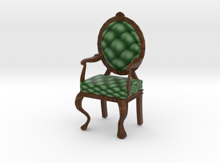 1:24 Half Inch Scale PineDark Oak Louis XVI Chair 3d printed