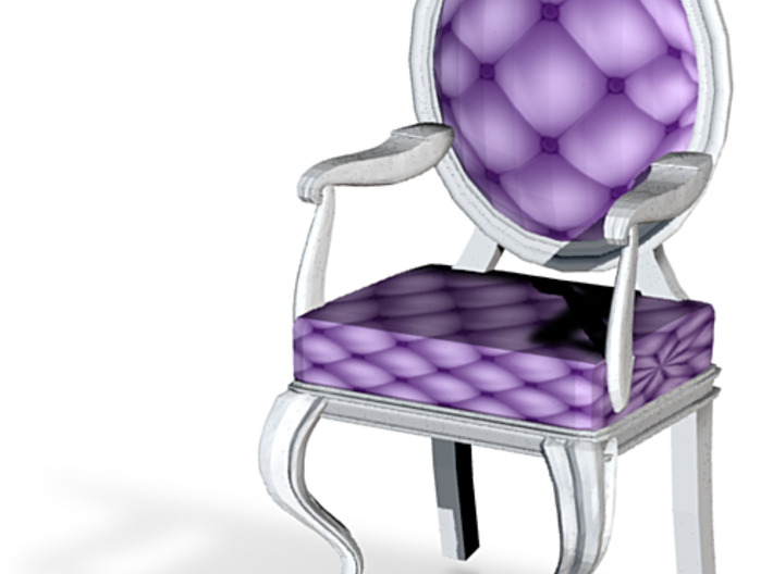 1:24 Half Inch Scale LavWhite Louis XVI Chair 3d printed