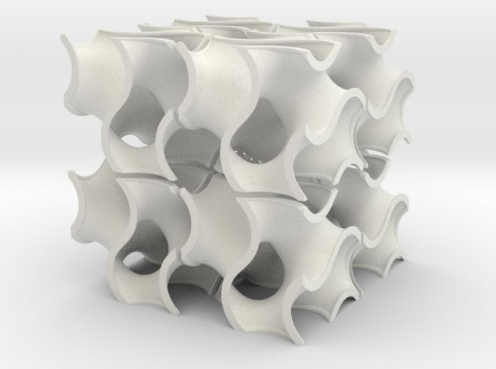 Eight gyroid chunks 3d printed