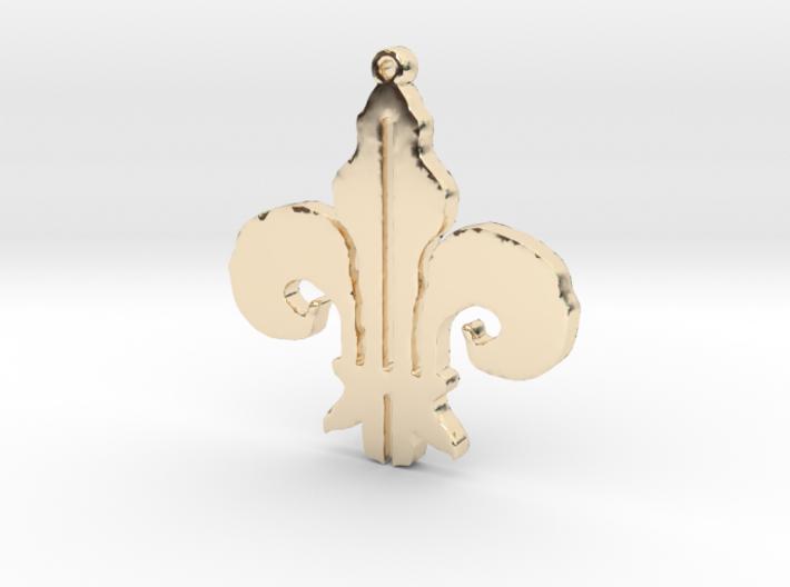 Fleurdelis Necklace Pendant 3d printed