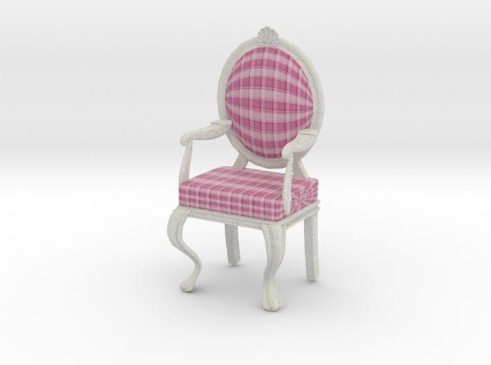 1:12 Scale Pink Plaid/White Louis XVI Chair 3d printed