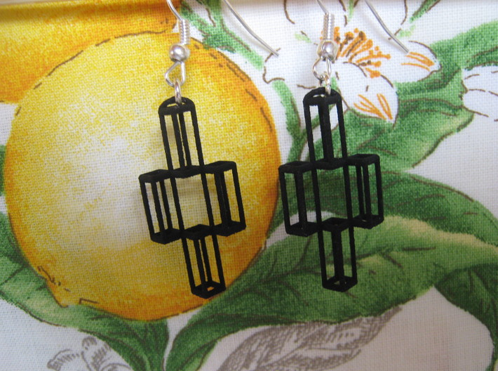 Parallelepiped Earrings 3d printed