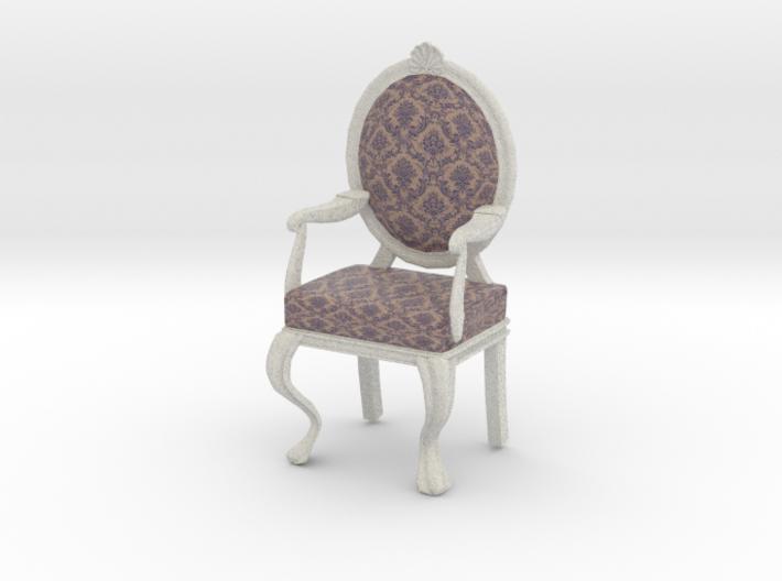 Charmant 1:12 Scale Purple Damask/White Louis XVI Chair 3d Printed