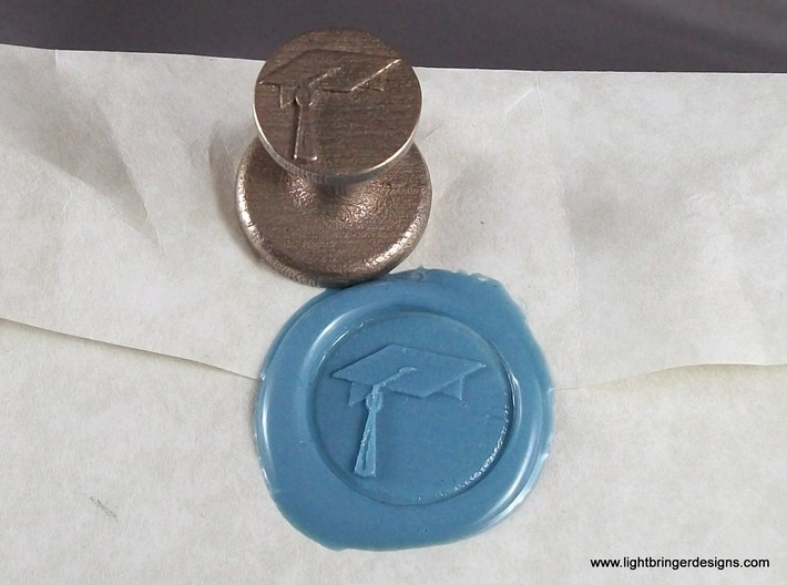 Mortarboard Wax Seal 3d printed Mortarboard Wax Seal and the impression in Light Blue sealing wax.