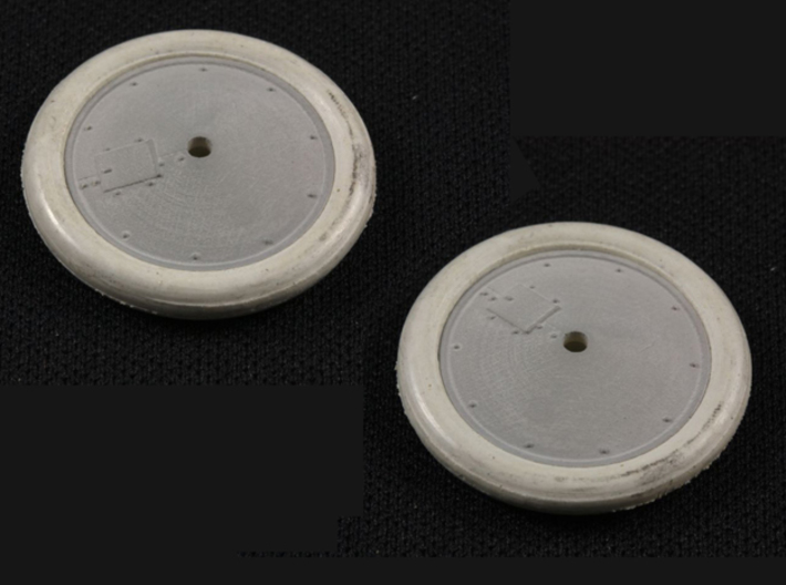 1/32 Albatros Tireless Wheels (2 pack) 3d printed Shown primed. Tires not included.
