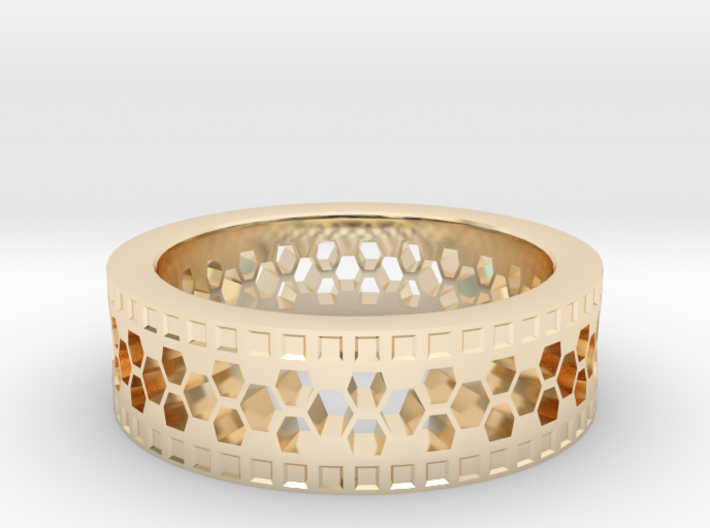 Ring With Hexagonal Holes 3d printed