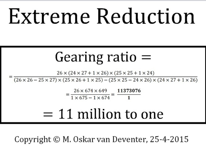 Extreme Reduction - 11 million to one gearing 3d printed