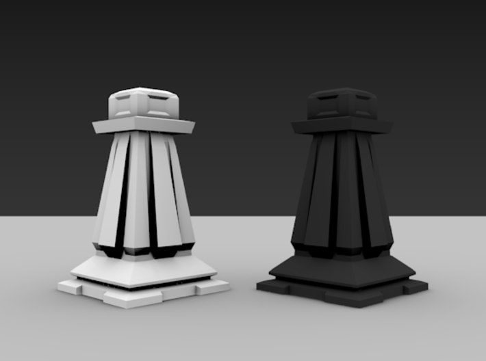 Pawn - Mini Chess Piece 3d printed Two pieces shown for different colors.