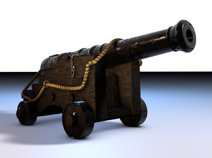 Old Ship Cannon 3d printed Cinema 4D render