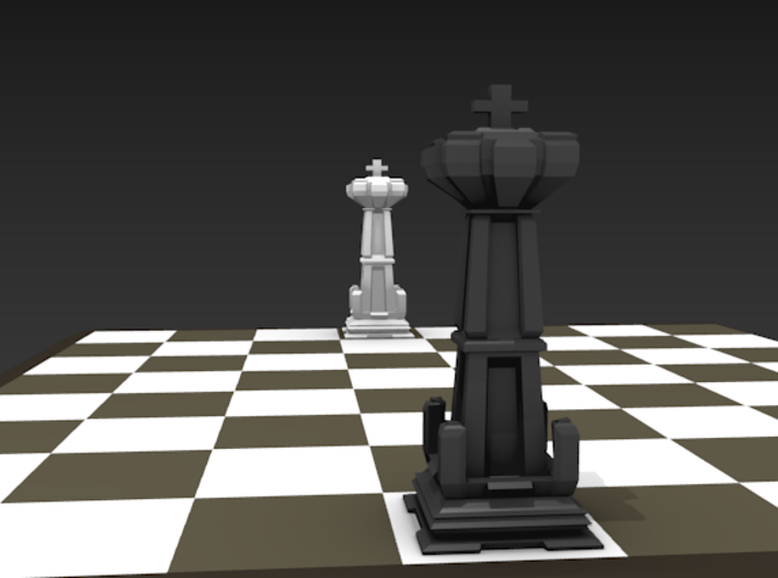 King - Mini Chess Piece 3d printed Chess board not included. Multiple pieces shown for multiple colors.