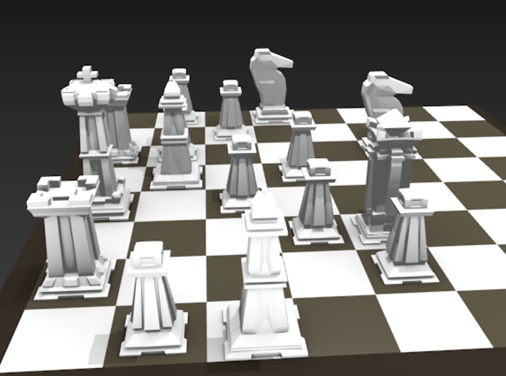 Mini Chess Set - One Player's Pieces 3d printed Chessboard not included.