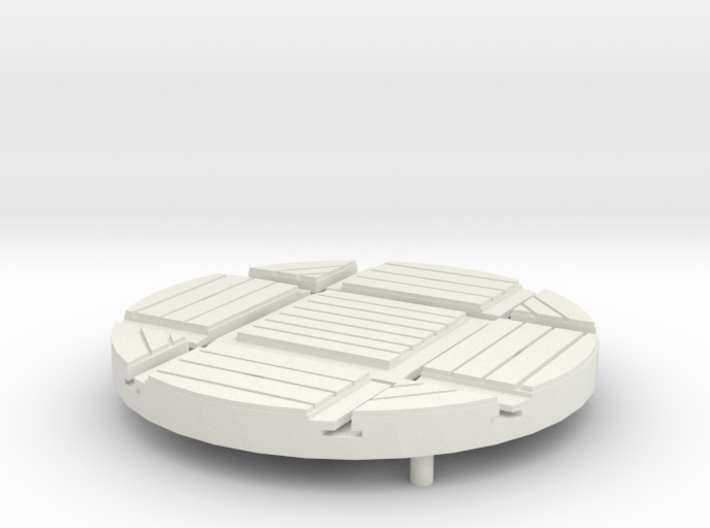 T-21-wagon-turntable-48d-100-wood-1a 3d printed