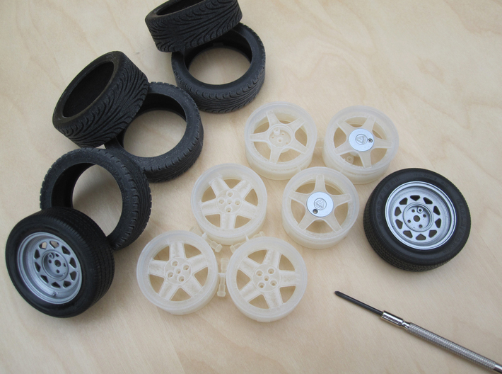 Caterham Tire Rr x2 (1-12) Black Acrylic  3d printed Wheels & Tires to replace Tamiya parts.