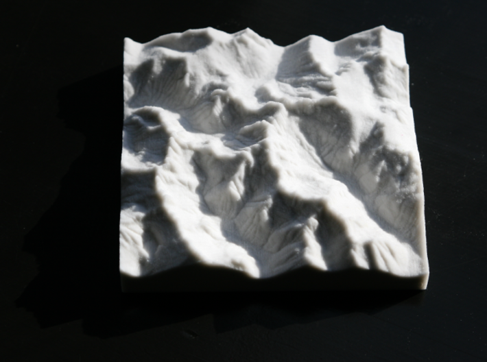 4'' Picket Range, Washington, USA, Sandstone 3d printed Overhead view, North is to the right