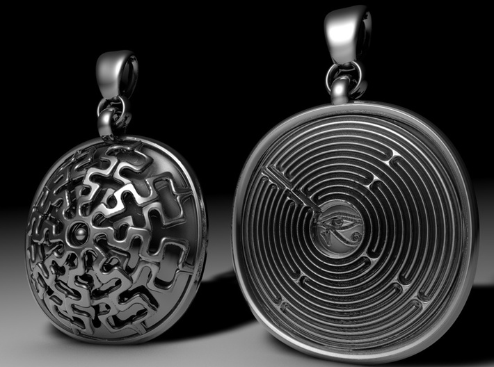 Mystic Maze Pendant 3d printed Front and back side.