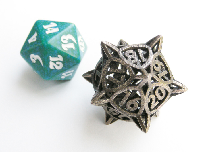 'Center Arc' dice, D20 MTG Spindown Life Counter 3d printed The die in stainless steel compared to a regular spindown d20