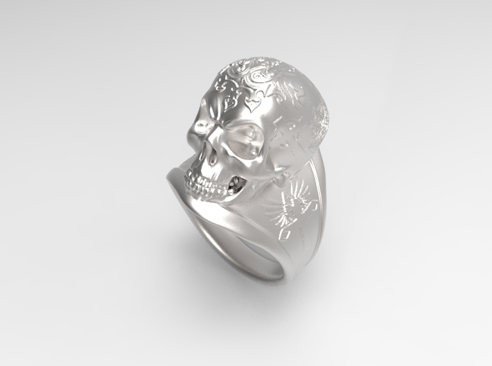 Silver Skull Ring Engraved Size 12 3d printed Steel rough