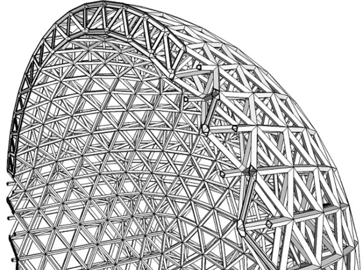 Space Frame Sphere Small 3d printed Cutaway view.